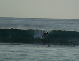 Surfer Girl Makes The Drop At Pipel